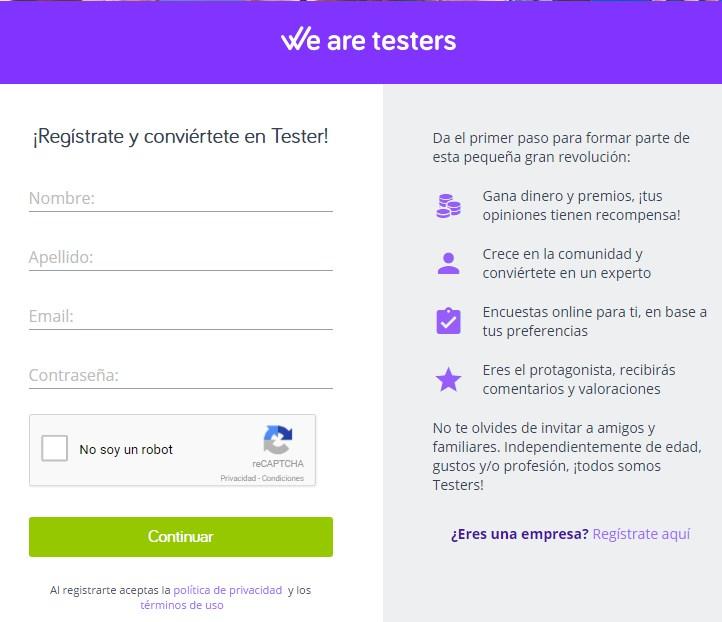 wearetesters registrarse