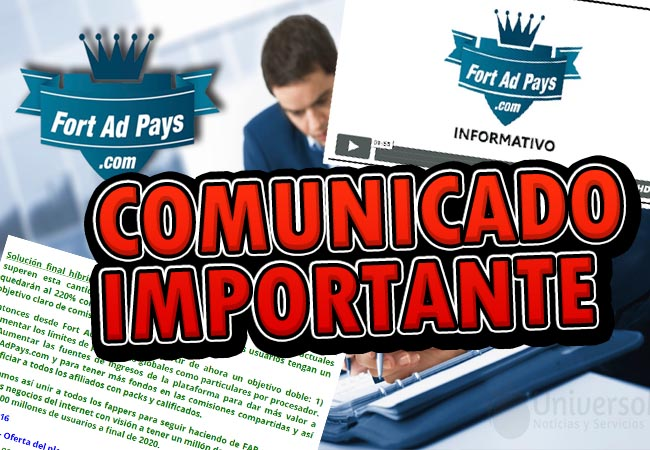 fortadpays comunicado importante