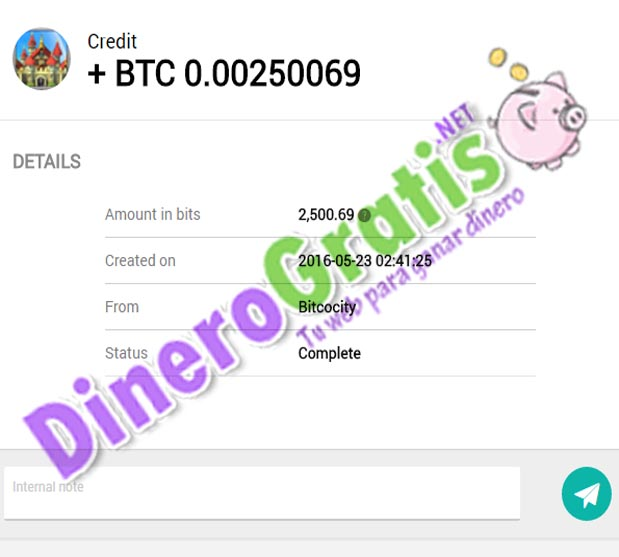 2° Pago bitcocity 1.05$