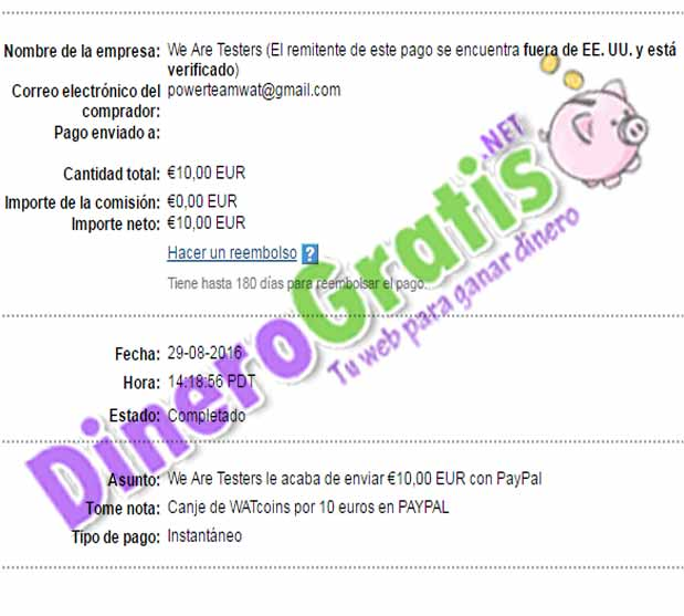 1° Pago WeAreTesters 10€