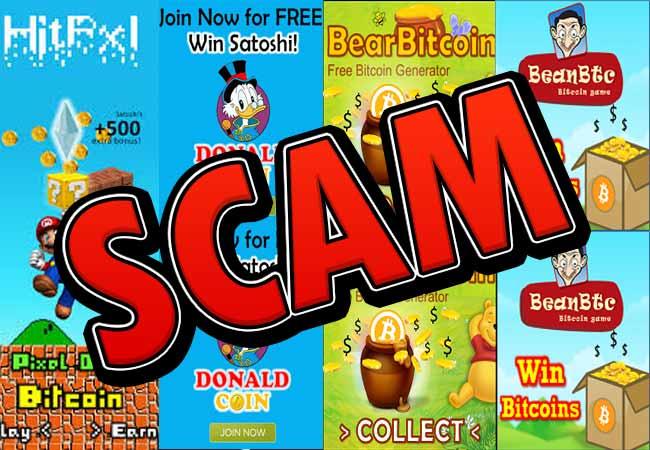 DonaldCoin HitPxl BearBitcoin BeanBTC y 101Dogs SCAM