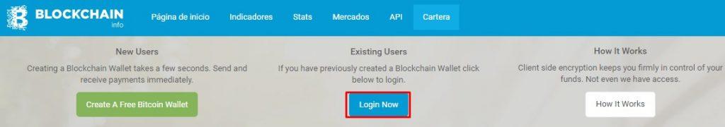 blockchain loguearse