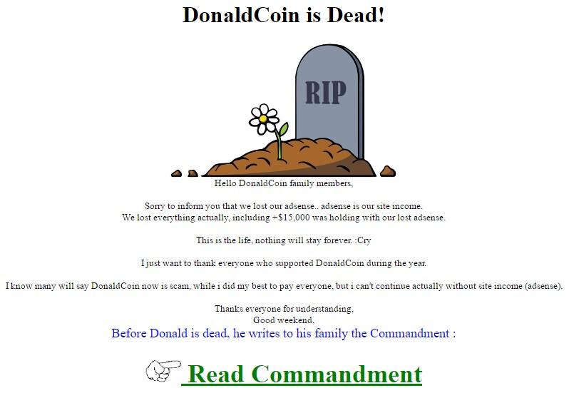 DonaldCoin HitPxl BearBitcoin BeanBTC y 101Dogs anuncio