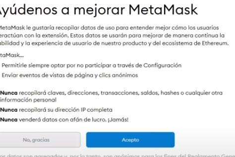 Aceptar Terminos y Condiciones de Metamask