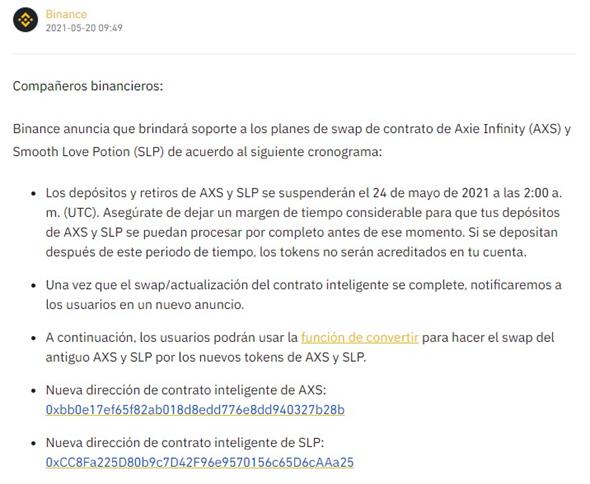 Direccion de Contrato SLP y AXS Binance a Metamask