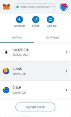 AXS y SLP Tokens en Metamask Wallet