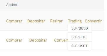 Tradear SLP a USDT